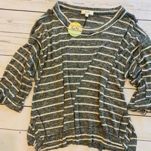 Slouchy knit striped top